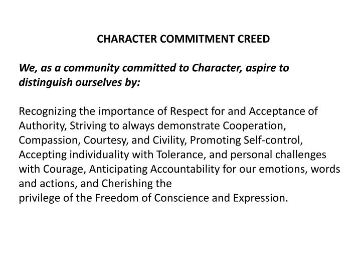 CHARACTER COMMITMENT