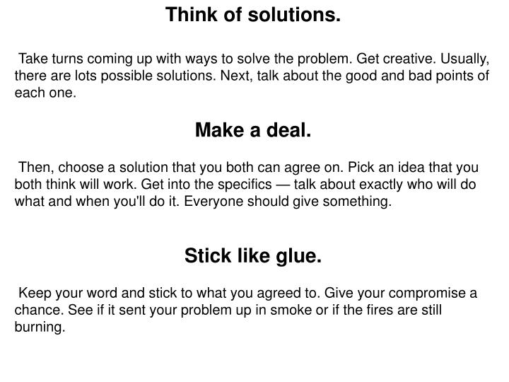 Think of solutions.