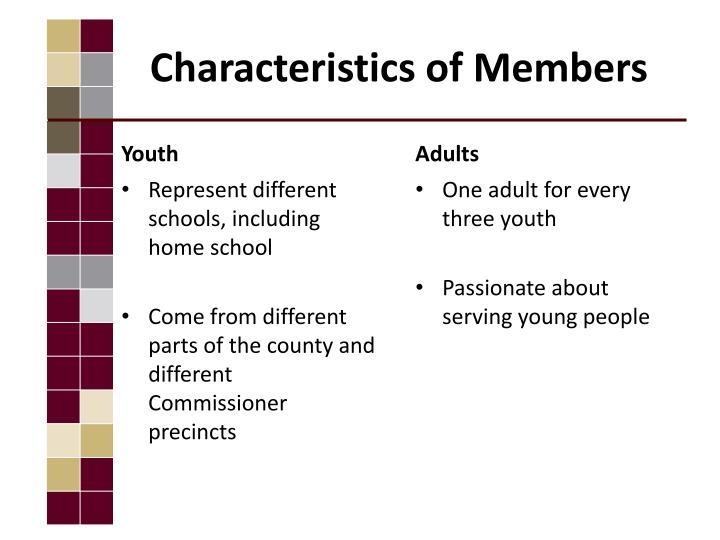 Characteristics of Members