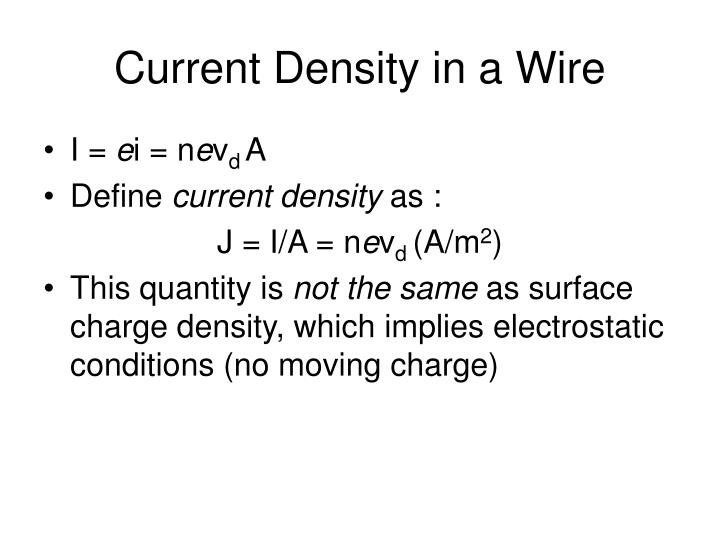 Current Density in a Wire