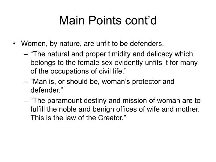 Main Points cont'd