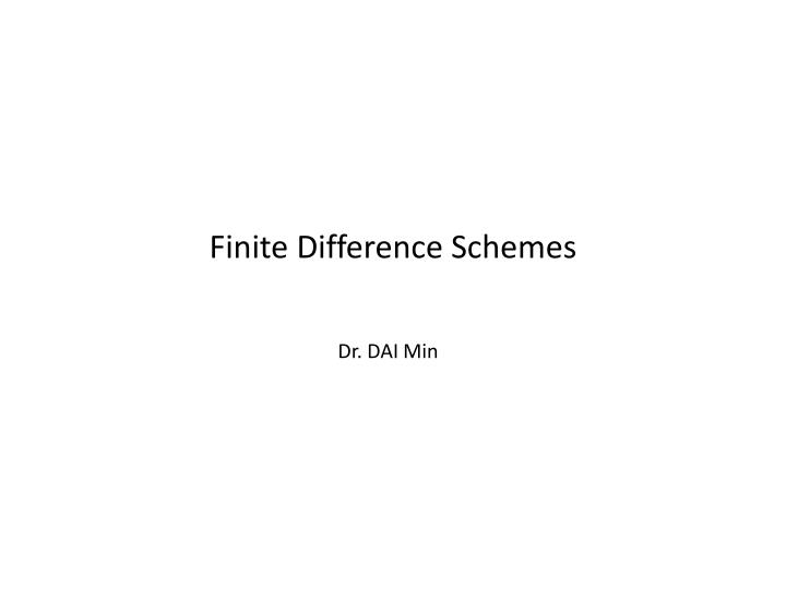 finite difference schemes n.