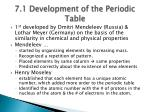 7 1 development of the periodic table