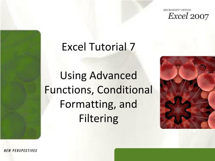Excel tutorial 7 using advanced functions conditional formatting and filtering