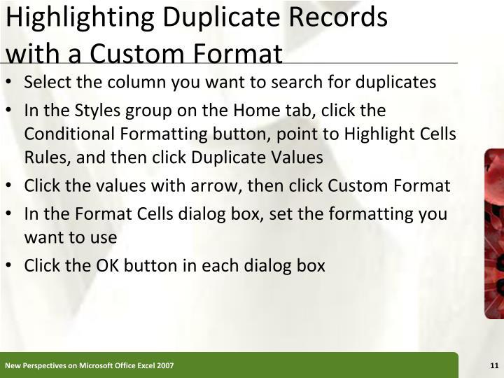 Highlighting Duplicate Records