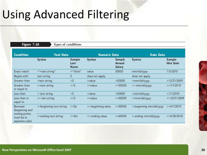 Using Advanced Filtering