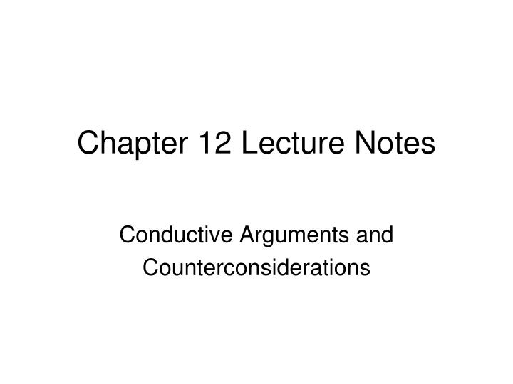 chapter 12 lecture notes n.