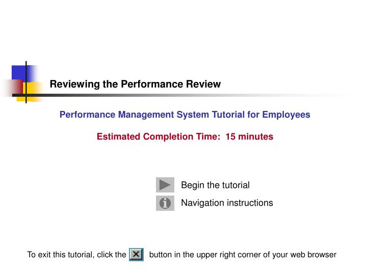 reviewing the performance review n.
