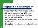 rejection of sutton decision