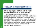 the ada in historical context