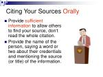 citing your sources orally