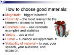 how to choose good materials