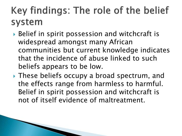 Key findings: The role of the belief system