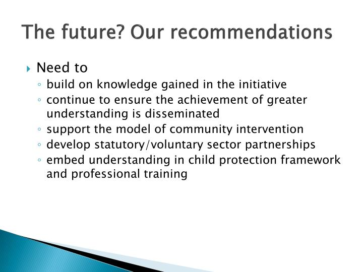 The future? Our recommendations