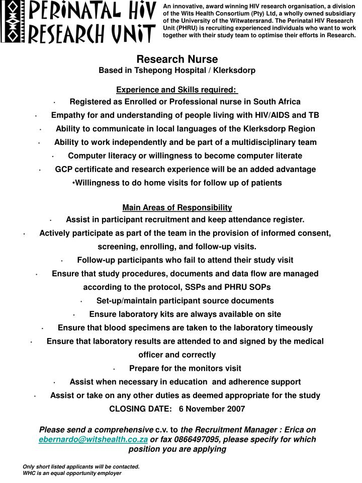 An innovative, award winning HIV research organisation, a division of the Wits Health Consortium (Pt...