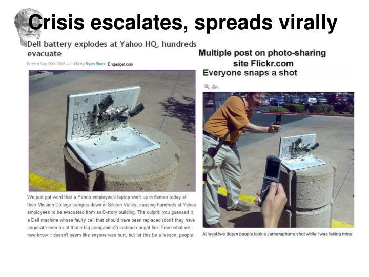 Crisis escalates, spreads virally