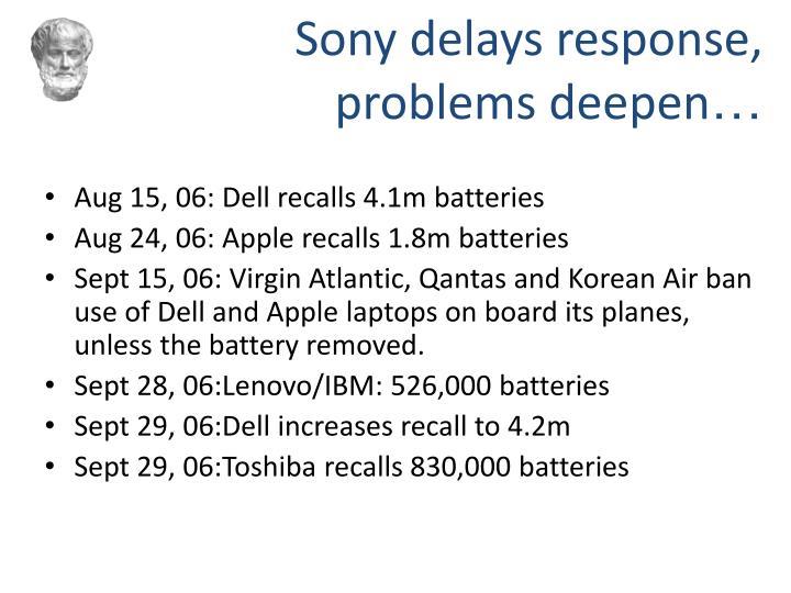 Sony delays response,