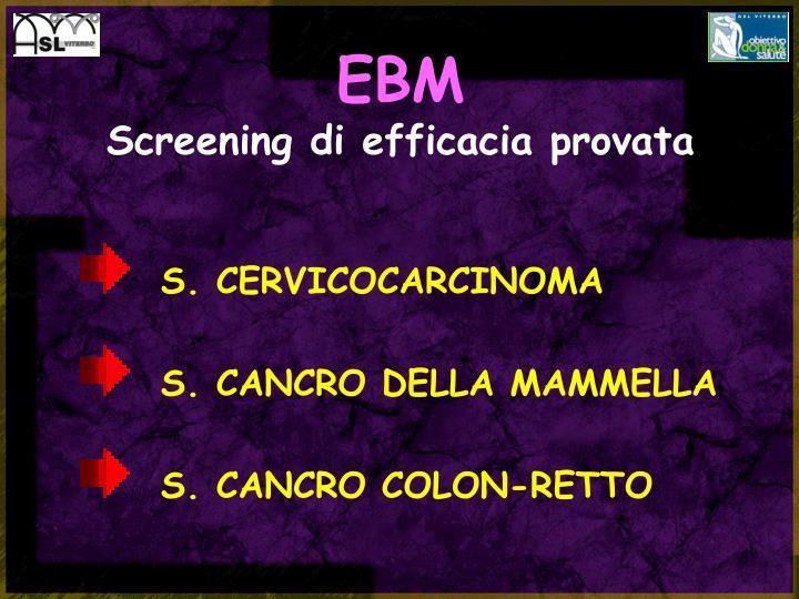 Ebm screening di efficacia provata