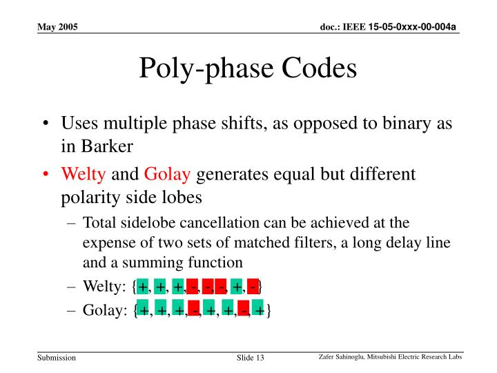 Poly-phase Codes