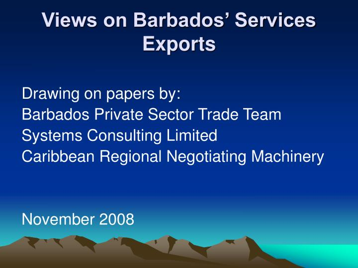 views on barbados services exports n.