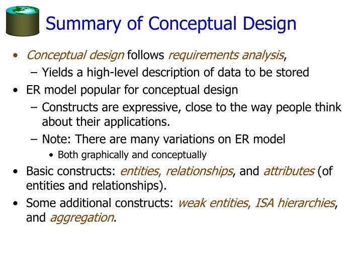 Summary of Conceptual Design