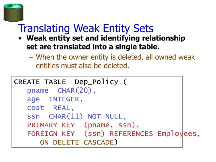 Translating Weak Entity Sets
