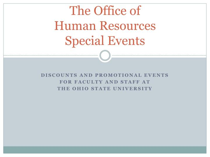 the office of human resources special events n.