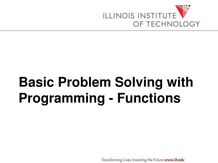 basic problem solving with programming functions n.