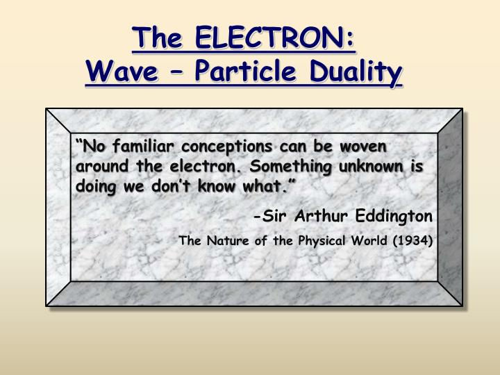 the electron wave particle duality