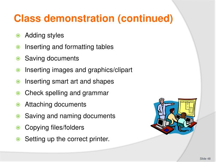 Class demonstration (continued)