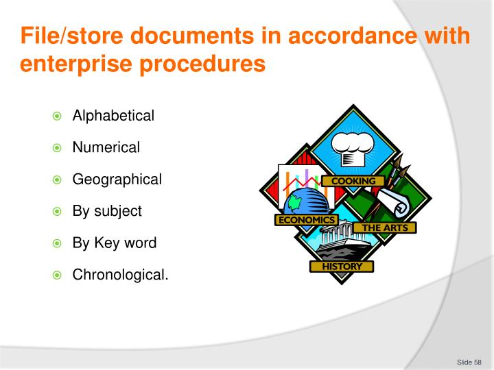 File/store documents in accordance with enterprise procedures