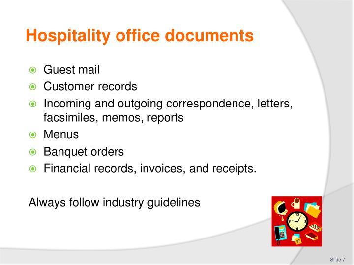 Hospitality office documents