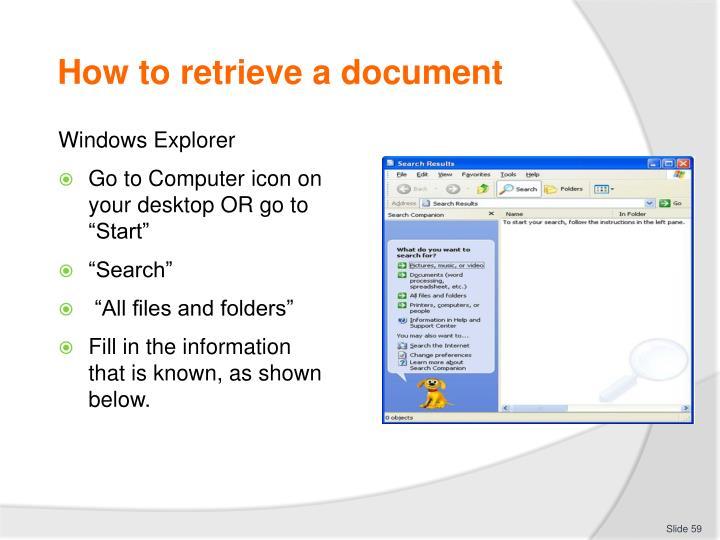 How to retrieve a document