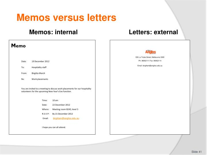 Memos versus letters
