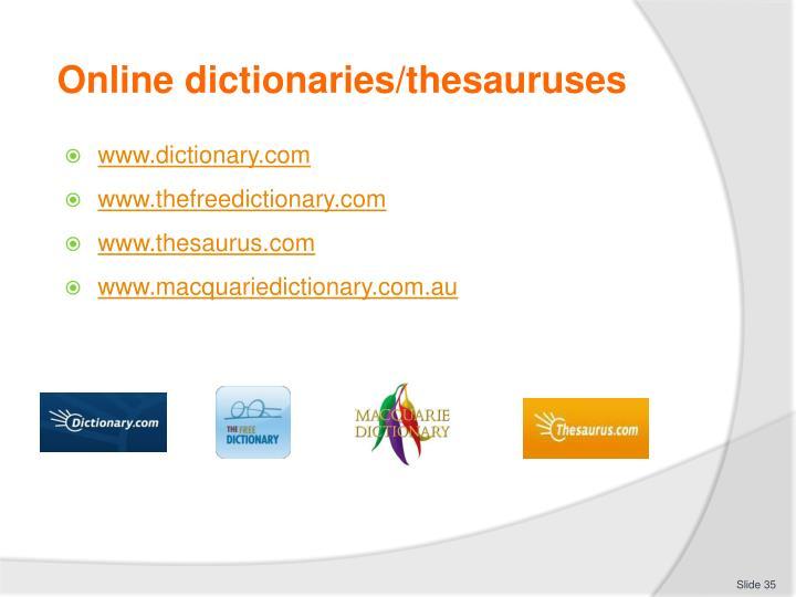 Online dictionaries/thesauruses