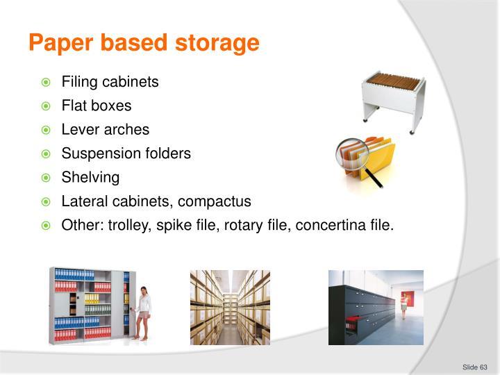 Paper based storage