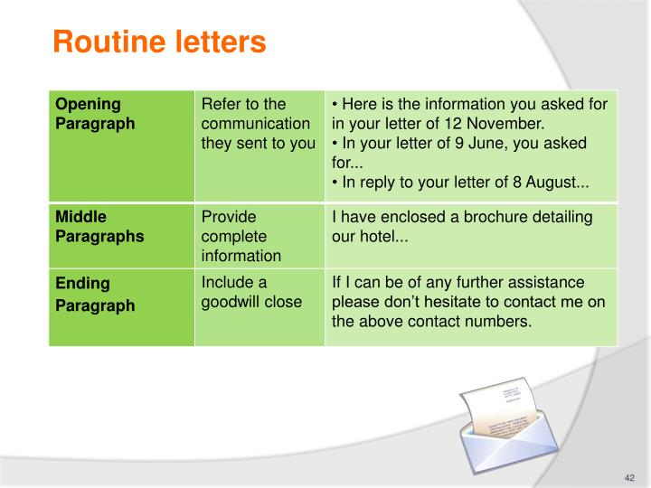 Routine letters