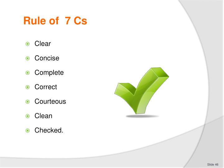 Rule of  7 Cs