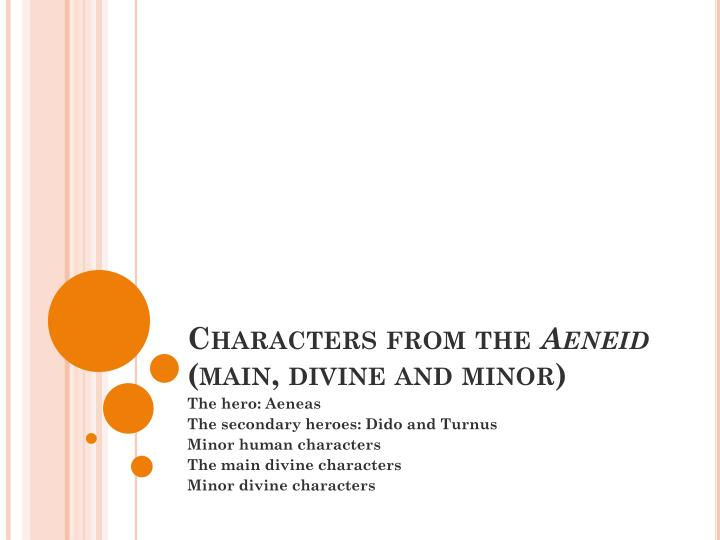 characters from the aeneid main divine and minor n.