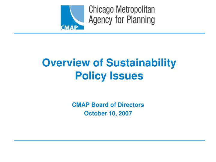 overview of sustainability policy issues n.