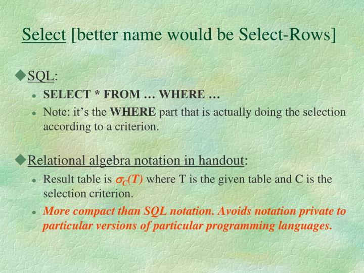 Select better name would be select rows