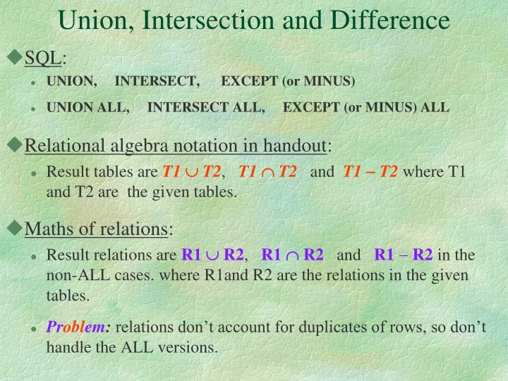 Union, Intersection and Difference