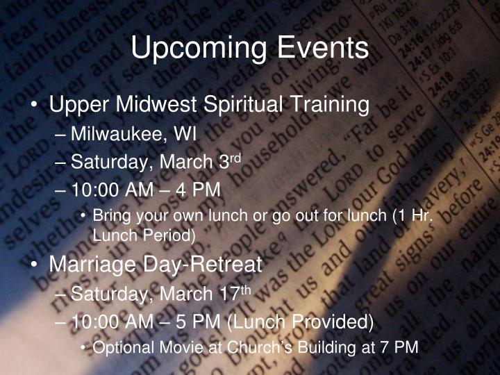 upcoming events n.