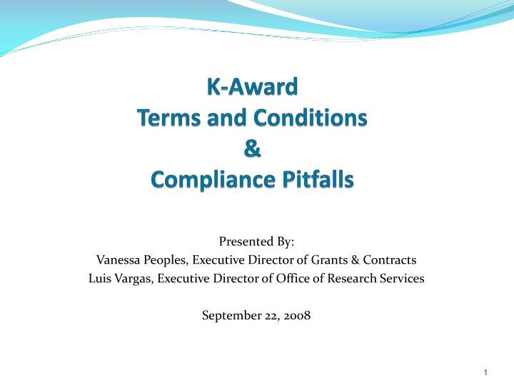 k award terms and conditions compliance pitfalls n.