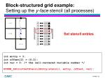 block structured grid example setting up the y face stencil all processes4