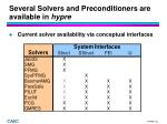 several solvers and preconditioners are available in hypre