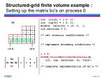 structured grid finite volume example setting up the matrix bc s on process 0