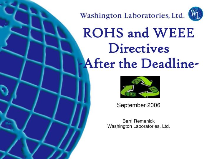 ROHS and WEEE Directives