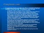 complaints cont