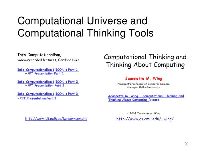 Computational Universe and Computational Thinking Tools